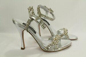 Francesco Sacco Claudio Milano Leather Sandal Silver Crystal Size 35 Italy