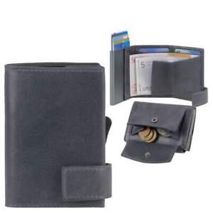 Secwal Kreditkartenetui SW2 Geldbörse Kartenetui Leder Vintage blau mit Münzfach