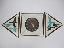 Vtg MCM Burwood Products 3 Piece Wall Clock & 2 Flying Geese Plaques Teal Brown