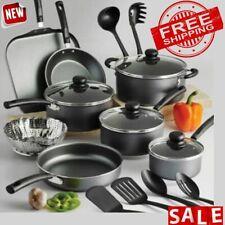 COOKWARE SET 18 PIECE Non Stick Kitchen Cooking Pot Pans Utensils Dutch Oven Lid