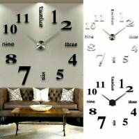 Creative 3D Large Wall Clock Mirror Surface Sticker Home Office Room DIY Decor
