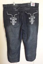 Swiss Cross Mens Jeans 46 x 33 Distressed Dark Wash Blue Loose Baggy Flap Pocket