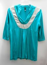Cotton On Unusual Style Teal & Silver Top Deep V Neckline Gathered Bust Sz M