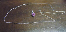 Heart Shape 10 K White Gold Pendant Pink Ruby Necklace