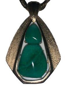 Beautiful Bohemian Vintage Jade Green Stone Pendant Necklace Gold Tone