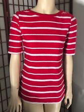 Womens Croth & Barrow Red and White Stripe Shirt Top Short Sleeve Size PXS NEW