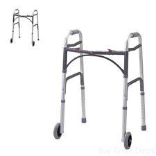 Folding Walker Wheels Aluminum Lightweight Adjustable Walking Support Mobility