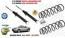 FOR MAZDA MX5 1.8 2005-12/2007 2X FRONT SHOCK ABSORBER SET + 2X COIL SPRINGS SET