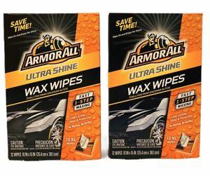 2-Pack Armor All Ultra Shine Wax 12 XL Car Waxing Wipe! ArmorAll