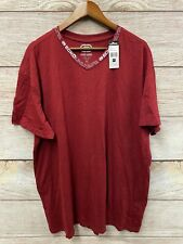 "Ecko Unltd Tee Shirt Mens 3XL (55"" Chest) Red Marled V Logo Neck T Shirt New"