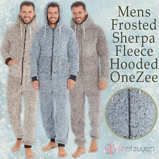 Mens Frosted Sherpa Snuggle Fleece Hooded Jumpsuit Zip Up One Piece Onezee S-XL