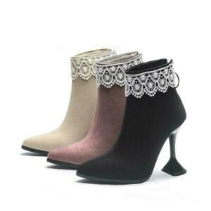 Womens Pointy Toe Stiletto Chic Lace Ankle Boots High Heel Party Shoes Plus Size