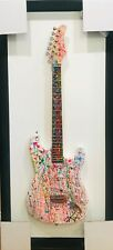 E M ZAX ORIGINAL ACRYLIC PAINTING ON GUITAR IN UNIQUE FRAME HAND SIGNED COA
