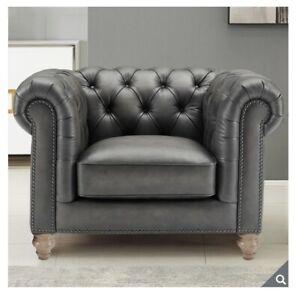 Allington Grey Leather Chesterfield Armchair
