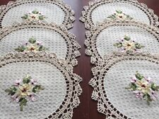 "6 PCS 10"" x 14"" ovel  Crochet Lace Doily COLOR BEIGE  100 % COTTON"