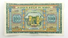 Morocco Bank Banque Detat Du Maroc 100 Francs 1944 Circulated Banknote N500