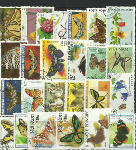 BUTTERFLIES & MOTHS Collection Packet 25 Different Stamps (Lot 2)