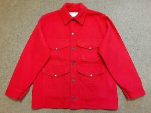 VTG FILSON Mackinaw Cruiser Wool Hunting Shooting Coat Jacket Red 42 Made In USA