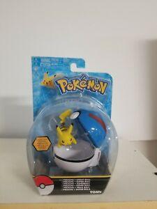 Pokémon Pikachu And Great Ball Clip 'N' Carry Poké Ball Action Figure Tomy - NEW