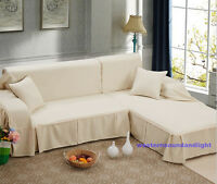 Thick Removable Solid Colour Polyester Couch Sofa Cover Protector 1 2 3 4 seater