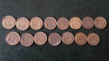 15 pièces de 50 centimes Morlon bronze-alu différentes