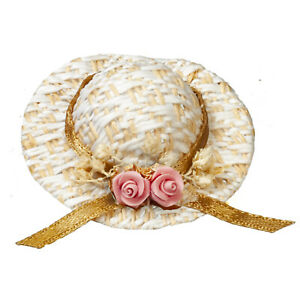 Dolls house miniatures  Straw Hat with Pink Flower
