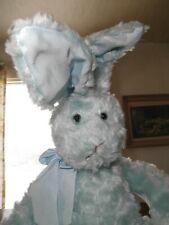 "Big Blue Sitting Easter Bunny Rabbit Fluffy Stuffed Plush Animal Toy Bow Big 21"""