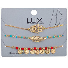Lux Accessories Gold Tone Boho Gypsy Hamsa Feather Beaded Layered Anklet Set 3Pc