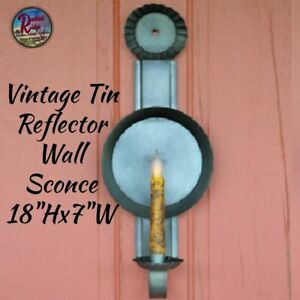 Vintage Tin Reflector Wall Sconce