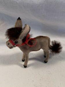 Vintage Wagner Kunstlerschutz West Germany Handwork Flocked Animal Donkey