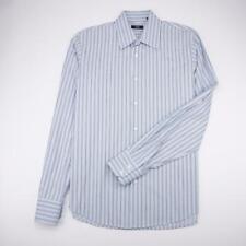 HUGO BOSS Button Front Dress Shirt Long Sleeve Blue Striped Mens 16.5-32/33