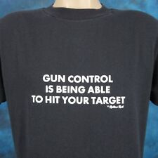 vtg 80s GUN CONTROL IS BEING ABLE TO HIT YOUR TARGET PAPER THIN T-Shirt M nra
