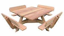 "56"" Square Top Western Red Cedar Picnic Table w/Easy Seating and Backs"