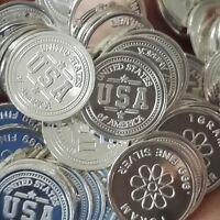 USA Design. Lot of 10, 1 gram .999 Fine silver bullion round. (Coin) New!