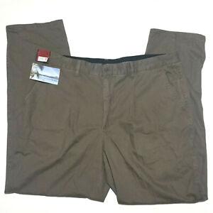Men's Highland Ridge Regular Fit Chino Olive Soft Cotton Twill Pants Size 112cm.