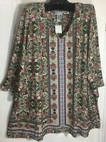 New Catherines women Plus size 2x V-Neck stretch printed embellished Tunic Top
