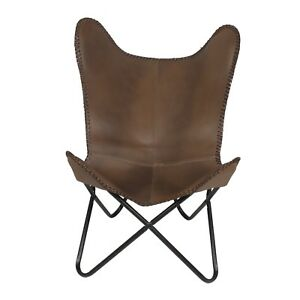 CHOCOLATE LEATHER HANDCRAFTED PREMIUM BUFFALO LEATHER BUTTERFLY CHAIR
