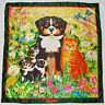 Swiss GISELA BUOMBERGER Artist Signed BEYELER Cat Dogs FLORAL Green Silk SCARF