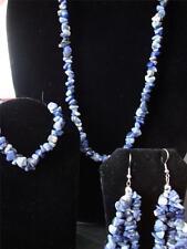 J321 Sodalite Earrings Bracelet (Stretchable)  Necklace 20 in StainlessSTEEL