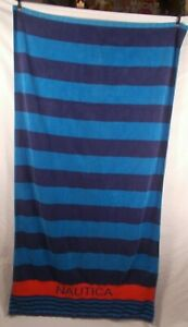 Authentic 100% Cotton Nautica Beach Towel 36x66 Two Tone Blue w Red Stripe Logo