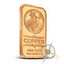 1 oz Copper Bar - Saint Gaudens 999 Copper Bullion Bar
