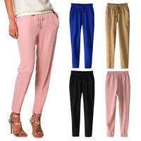 Ladies Casual Chiffon Harem Pants Comfy Elastic Waist Full Length Loose Trousers