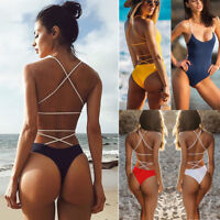 Women Bandage One Piece Bikini Monokini Push Up Padded Bra Swimwear Swimsuit O33