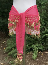 """Belly Dance Hip Scarf Waist Wrap Belt Coins & Beads in Hot Pink Coral Rose 55"""""""