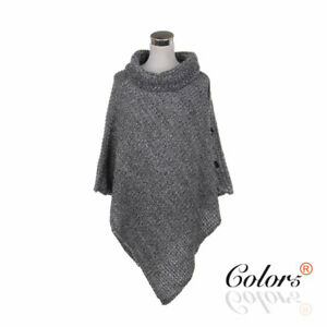 Color5 Lady Women Knit Poncho with buttons free size
