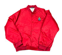 VTG England Crest Patch Red Satin Snap Button Baseball Jacket Insulated Men 2XL