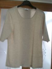 Soft and Luxurious 100% Cashmere Oatmeal Beige Short Sleeved Jumper Size L (14)