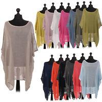 Ladies Italian Cotton Mesh Top Women Batwing Layering Drape Net Dress Shirt
