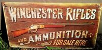 Winchester Rifle Metal Old Ad Sign Vtg Gun Western Picture Bar Wall Decor Gift