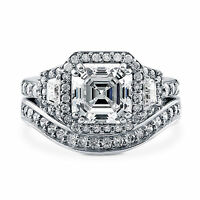 Asscher Cut 4.01 Ct Diamond Engagement Band Set 14K White Gold Wedding Ring Sets